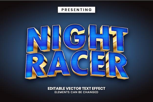 Night racer - efecto de texto editable de estilo de logotipo de película de superhéroe