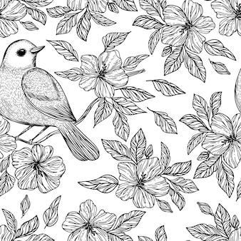 Nightingale en rama flores de hibisco bosquejo dibujado a mano monocromo