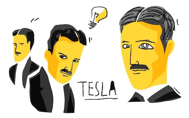 Nikola tesla en boceto amarillo y negro