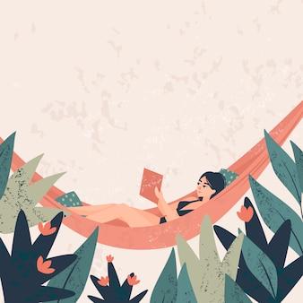 Niña acostada en una hamaca y leyendo un libro rodeado de plantas tropicales