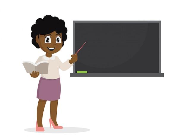 Niña africana en maestro enseñando una lección en la pizarra.