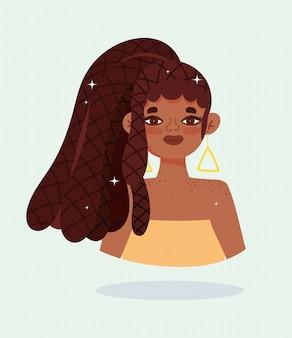 Niña afroamericana con cabello rasta trenzas personaje de dibujos animados ilustración vectorial