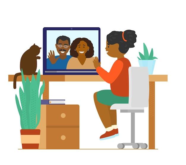 Niña afroamericana hablando con los padres por videollamada. videoconferencia familiar.