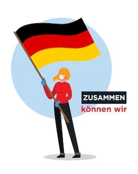 Niña alemana con bandera de alemania alentando a las personas contra el virus corona