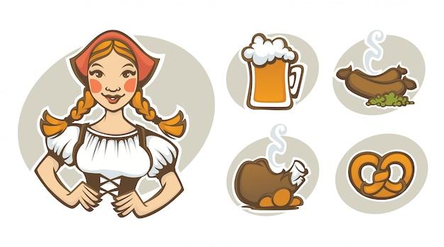 Niña alemana y colección de comida tradicional alemana para su menú oktoberfest