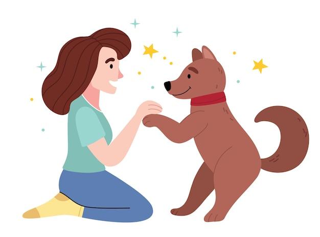 La niña ama a su perro amor entre perro y dueño.