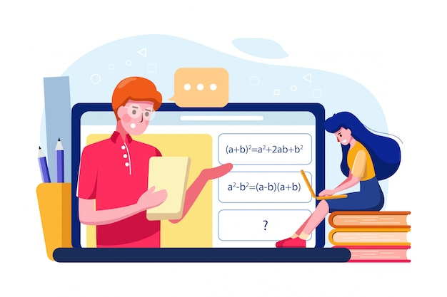 La niña aprende la ilustración de tutoría de matemáticas en línea.