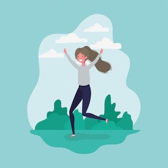 Niña avatar saltando en el parque