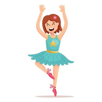 Niña bailando ballet en una falda corta
