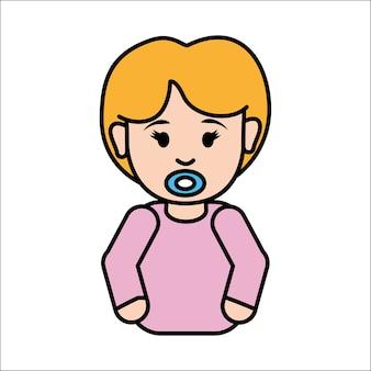 Niña bebé con icono de chupete