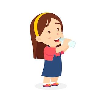 Niña bebe leche dibujos animados de vector
