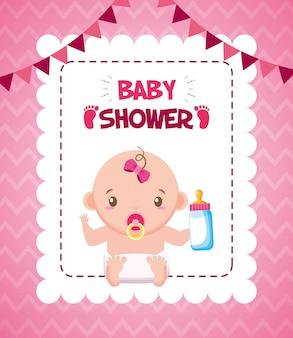 Niña con biberón de leche para tarjeta de baby shower