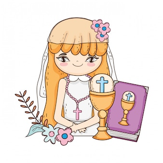 Niña con biblia en primera comunión celebración.