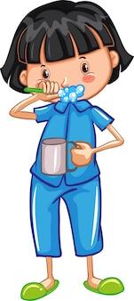 Una niña cepillando los dientes