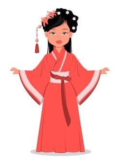Niña china en ropa tradicional