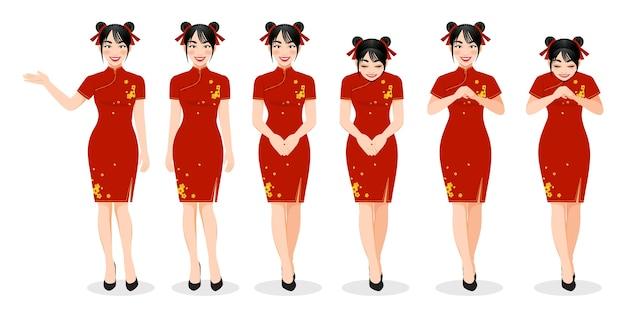 Niña china en traje mandarín con ilustración de personaje de dibujos animados del festival de año nuevo chino