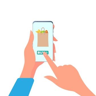 Una niña compra comida por teléfono. compra de alimentos en línea. manos con un teléfono de cerca.