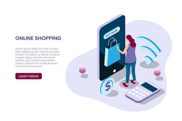 Una niña comprando en línea en estilo de ilustración isométrica