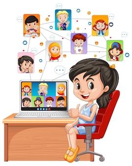 Una niña comunicarse por videoconferencia con amigos sobre fondo blanco.