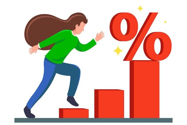 La niña corre el gráfico hasta el símbolo de descuento. precio bajo en la tienda. ilustración de vector de personaje