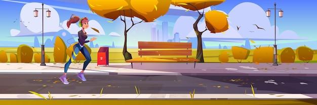 Niña corriendo en el parque de la ciudad deportista correr por la mañana