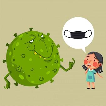 La niña debe tener una máscara para evitar que tenga el virus corona