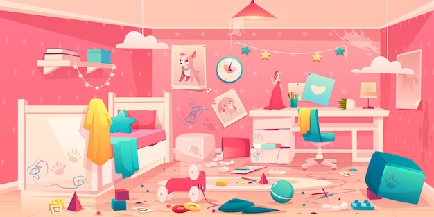 Niña desordenada habitación interior de dibujos animados