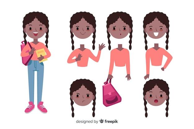 Niña dibujos animados para diseño en movimiento