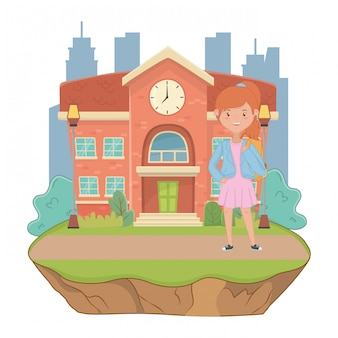 Niña de dibujos animados de la escuela