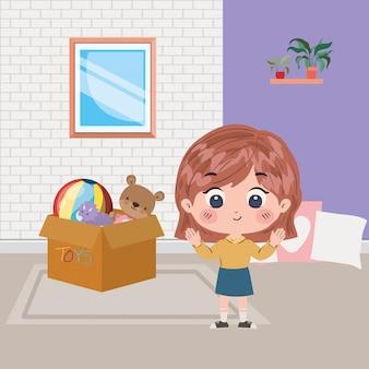 Niña de dibujos animados en la ilustración de la habitación