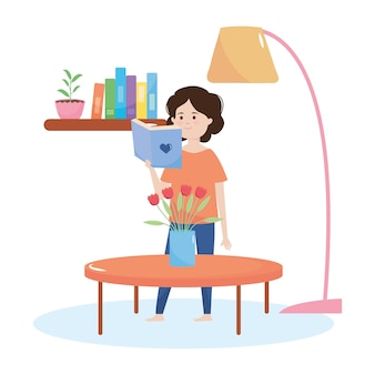 Niña de dibujos animados leyendo un libro en la casa sobre fondo blanco