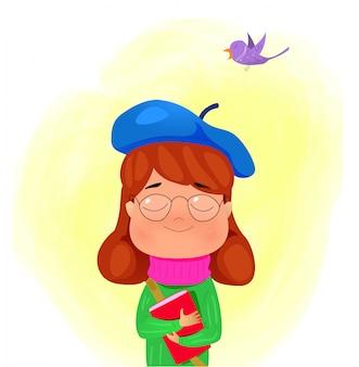 Niña de dibujos animados con libro y sueños