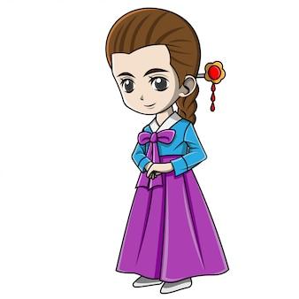 Niña de dibujos animados con ropa de corea