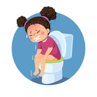 Niña de dibujos animados sentada en el inodoro y sufriendo de diarrea o estreñimiento