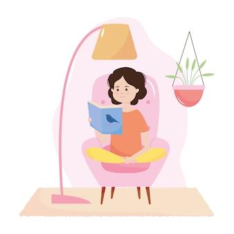 Niña de dibujos animados sentada leyendo un libro sobre fondo blanco