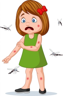 Niña de dibujos animados siendo mordida por mosquitos