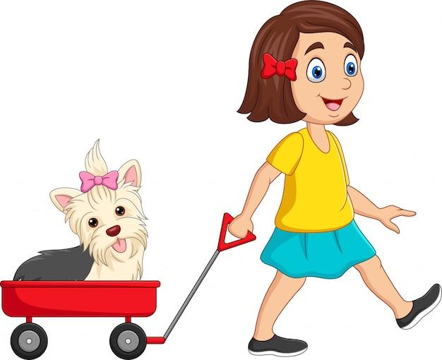 Niña de dibujos animados tirando de carro con cachorro