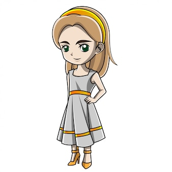 Niña de dibujos animados con traje griego