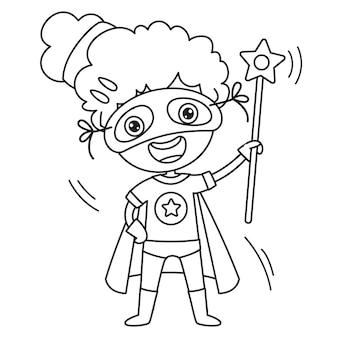 Niña disfrazada con capa y máscara, dibujo de arte lineal para niños, página para colorear