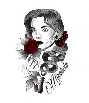 Niña disfruta el olor de las rosas
