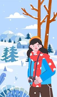 Niña disparando escena de nieve en invierno