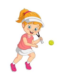 Niña divertida de dibujos animados jugando al tenis