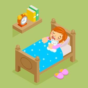 Niña durmiendo osito de peluche. dormitorio cómodo 3d isométrico, descanso antes de acostarse.