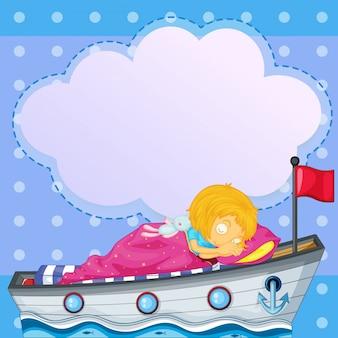 Una niña durmiendo sobre el barco con un letrero vacío