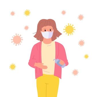Niña enmascarada utiliza un desinfectante, detener pandemia niño personaje de dibujos animados. coronavirus en el aire, concepto contra