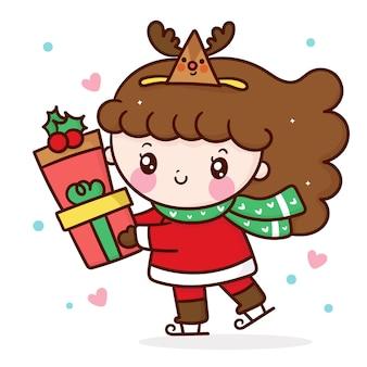 Niña entrega de dibujos animados regalo de navidad usar sombrero de reno estilo kawaii
