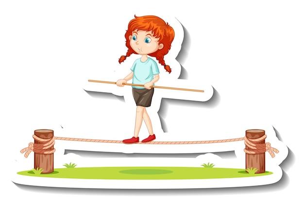 Una niña en equilibrio sobre un personaje de dibujos animados de cuerda pegatina