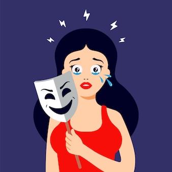 La niña esconde sus lágrimas detrás de una máscara sonriente. crisis emocional personaje plano.