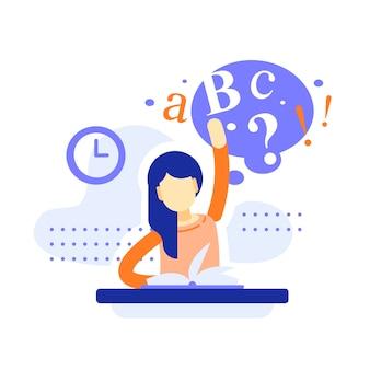 Niña de la escuela sentada en el escritorio, levantando la mano y respondiendo, educación divertida