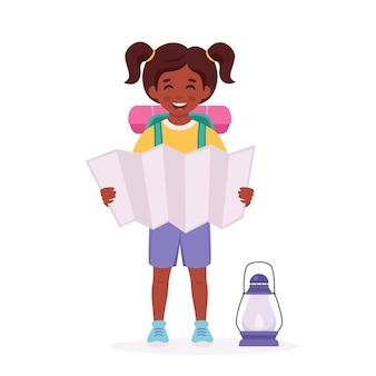 Niña exploradora negra con mochila de mapa camping campamento de verano para niños